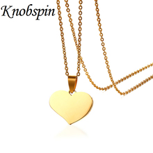 KNOBSPIN Elegant Solid Heart Necklace & Pendant Stainless Steel Long Chain Gold Color Women Jewelry bijoux femme