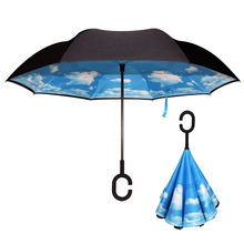 1 PCS Starry Sky Anti UV Inverted Umbrella Reverse Double Layer Guarda Chuva Self Stand Inside Out Sunny Rain Protection