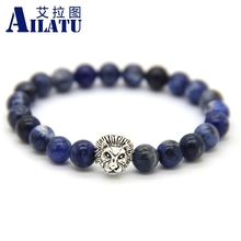 Ailatu Natural Stone Energy Bracelet 8mm Blue Veins Stone Beads Couple Lion Head Charm Jewelry Nice Gift for Men