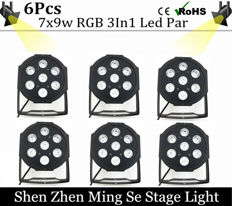 6pcs/lot LED Par 7x9W RGB DMX Stage Lights Business Led Flat Par High Power Light with Professional for Party KTV Disco DJ<br><br>Aliexpress