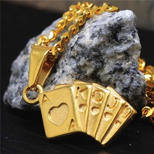 "24"" Gold Playing Cards Flush Royal Pendant S. Steel Hearts Poker Cards Necklace For Boys Girls Gift Casino Club Jewelry JF1223(China)"