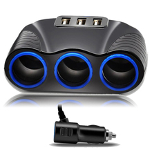 Multifunction 12V 3 Way Car Cigarette Lighter Socket Splitter High Quality Auto Dual USB Charger Power Adapter
