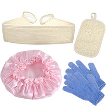 2017 hot sell 5pcs/lot Exfoliating Loofah Back and Body Scrubber for Shower  Loofah Sponge Pad Nylon gloves and shower cap mit
