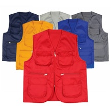 Free shipping Multi-pocket Outdoor Clothing for Men and Women Labor Sanitation Volunteer Vest t Advertising Photography(China)