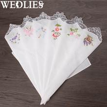 Винтаж хлопок Для женщин платки вышитые бабочки кружевное платье с цветочным рисунком Hanky цветочный ассорти Ткань дамы платок ткани 6 шт.(China)