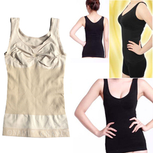 New Quality Slimming Bust Up Body Shaper Tummy Fat Control Camisole Tank Top 2 Colors H7JP(China)