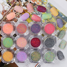 1 Box Nail Sandy Sugar Mixed Powder Manicure Nail Art Glitter Powder Dust Tip Nail Art Decoration Nail Tools 12 Colors(China)