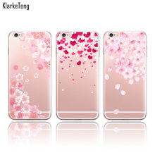 Beautiful Floral Cherry Blossom Case Cover For iphone 7 8 6 6S 6Plus X Transparent Silicone Cell Phone Cases(China)