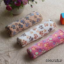 2017 New Arrivals Wholesale Super Soft Warm Paw Print Small Pet Cat Dog Fleece Blanket Bed Mat 3 colors 2 sizes(China)