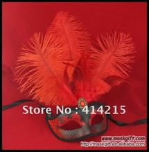 Free Shipping High quality plastic Venetian Halloween Mask in black and red Feather Carnival Mask