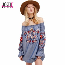 Jastie Beautiful Floral Embroidered Mini Dress Ultra Femme Off-the-Shoulder Neckline Sexy Dress long Sleeves Retro Vestidos