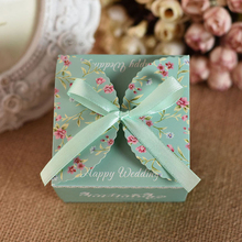 100pcs/lot DIY Happy Wedding Candy Box With Special Spring Flower Pattern Tiffany&Red&Pink Color Free Ribbon(China)
