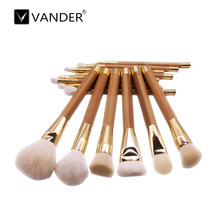 Professional 15pcs Bamboo Handle Makeup Brushes Set Foundation Eyeshadow Eyeliner Lip Powder Concealer Beauty Tool(China)