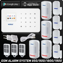Kerui G18 GSM Alarm System TFT Android IOS APP Touch keypad Android ISO App Smart Home Burglar Alarm System DIY Motion Sensor(China)