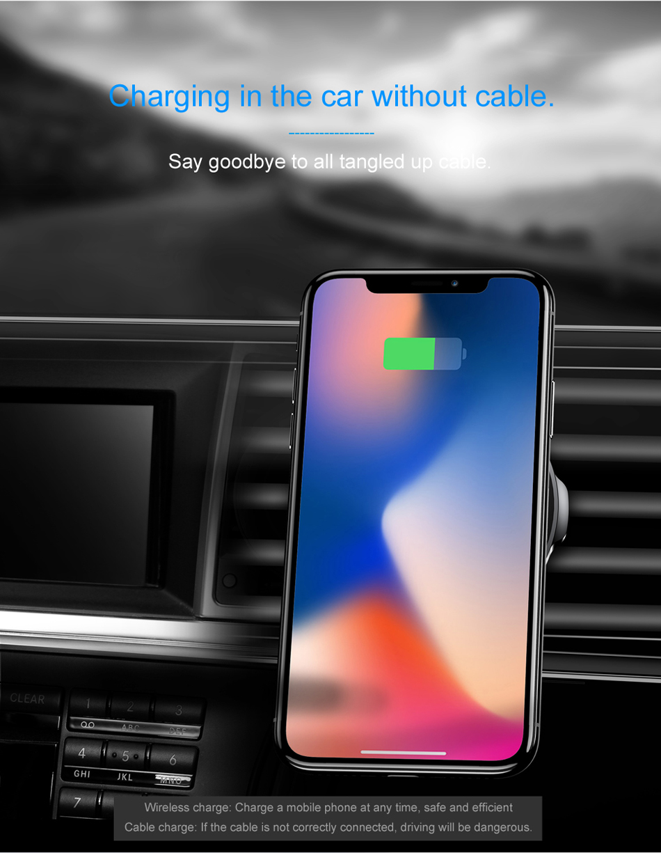 Baseus شاحن سيارة لاسلكي سريع من شركة iPhone X 8 Samsung Note 8 S8 S7 9