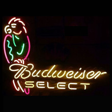 Neon Sign Real Glass Tube Vintage Neon Beer Sign BUDWEISE SELECT Beer PUB parrot Bar signs handcrafted Store Display Sign 24x20(China)