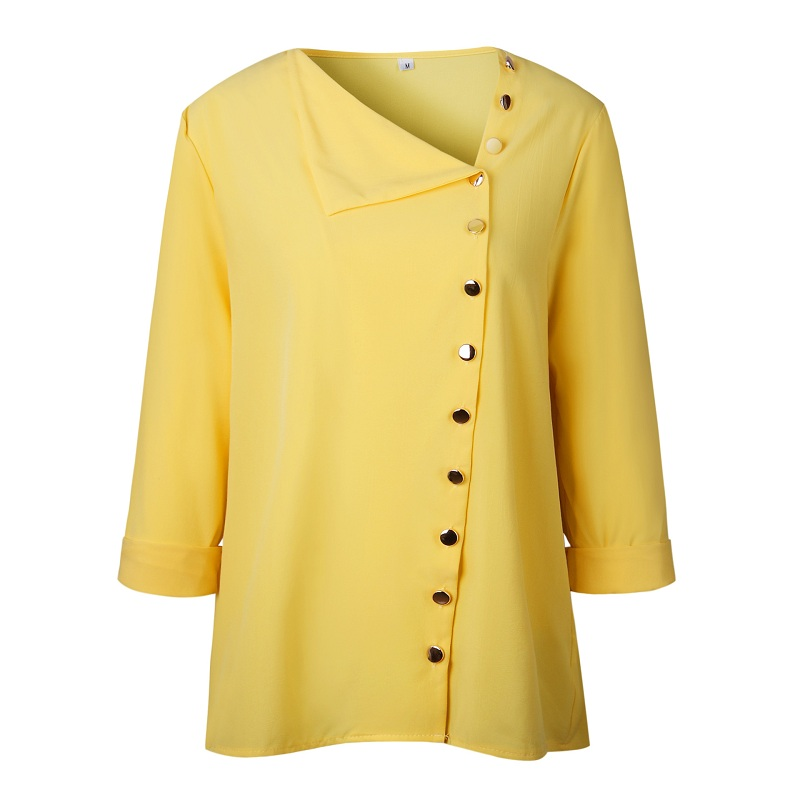 LOSSKY Fashion Long Sleeve Skew Collar Button Womens Tops And Blouses 2018 Spring Autumn Casual Streetwear Yellow Office Shirts 12