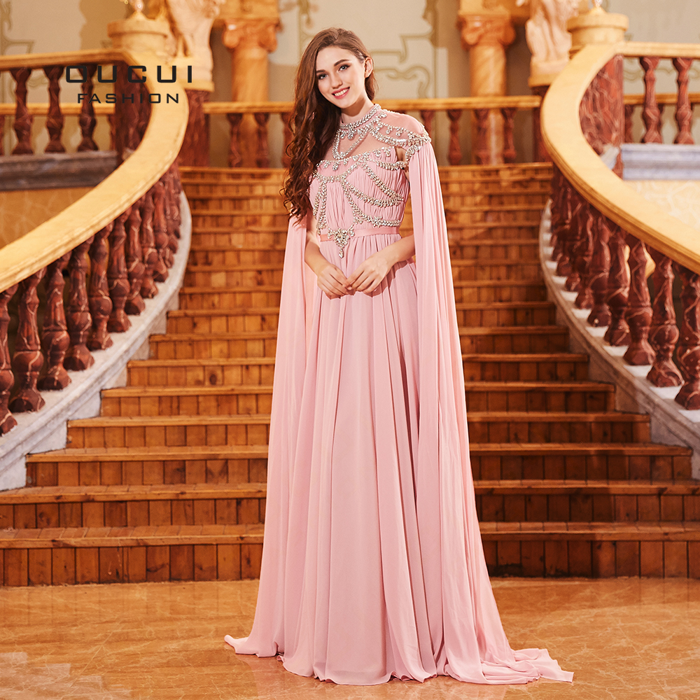 Saudi Arabia Design Long Evening Dress With Cape Chiffon Muslim Prom Dresses Crystal High Neck Formal Robe Soiree 2019 OL103131(China)