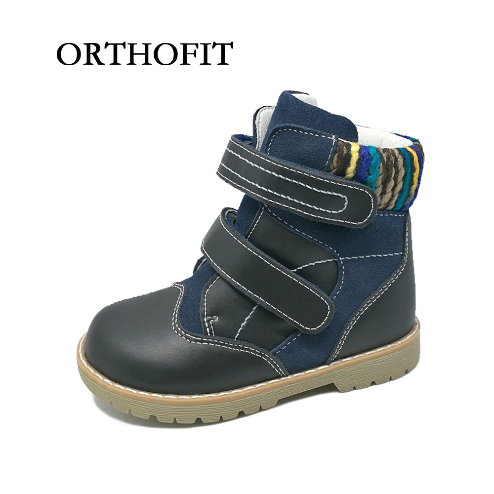European latest style children genuine leather shoes orthopedic footwear boys martin boots warm winter shoes kids boots