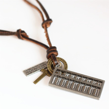 New Handmade Vintage Long Brown Genuine Leather Rope Chain Hoops Cross Abacus Pendant Necklace Men Women Femme Homme Jewelry