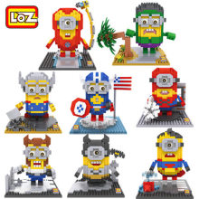 2016 New Arrived with Retail Box 8 styles LOZ Minions Blocks Self-Locking Bricks Building Kids Intelligence Toys