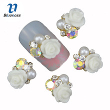 Blueness 10Pcs/lot Nails Art Decoration Charms Adhesives Glitter Rhinestone For Strass Flowers Design Alloy Nail Studs TN684(China)