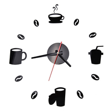 3D DIY Wall Clock Acrylic Stickers Coffee Cups Beans Quartz Modern Home Decoration Retro Kitchen Wall Clock GF150