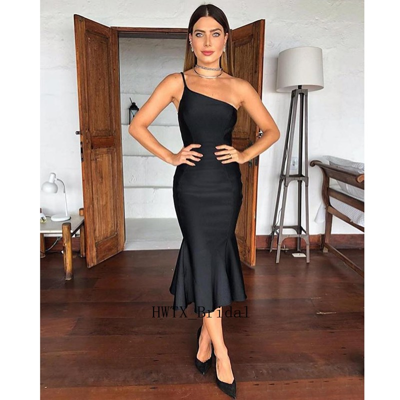 Sexy Black Short Cocktail Dresses 2019 Sexy Mermaid Cheap One Shoulder Satin Ever Pretty Tea Length Prom Party Dress Formal Gown