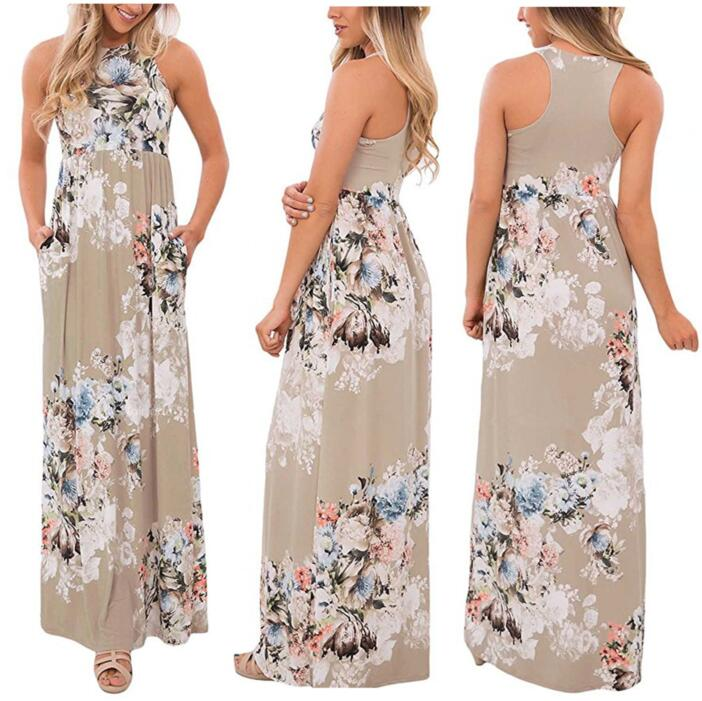 Boho Floral Printed Sundress O-neck Summer Sexy Pleated Maxi Dress 2017 Casual Beachwear Femininos Vestidos Plus Size LX328 17