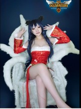 Free Shipping LOL the Nine-Tailed Fox Ahri Cosplay Costume Uniforms Outfit Top+Skirt+Bell+Leg Covers+Ears S-XL