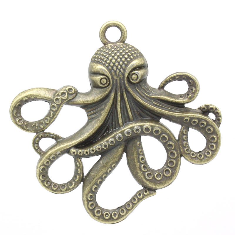 5 x Green Verdigris Patina Large Octopus Squid Charms Pendants 59x57mm