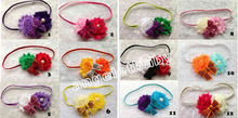 12pcs Hairbow Flower Headband Boutique Hari Bow Headband with Mini Sequin Bow Elastic slender rubber band PJ5267(China)