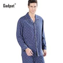 High Quality Twinset 100% Cotton New 2016 Autumn Pajama Sets Plaid Pijama Men Woven Rayon Pajamas Men's Sleepwear Men Pyjamas(China)