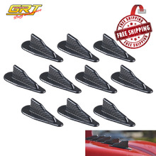 Free Shipping 10pcs Carbon/Black PP Universal EVO-Style Roof Shark Fins Spoiler Wing Vortex Generator Kit Set