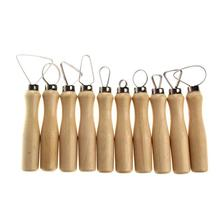 10 Pcs Wood Handle Pottery Clay Sculpture Carving Loop Hand Tool with Stainless Steel Flat Wire CLH@8(China)