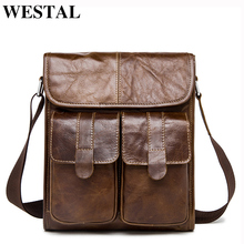 WESTAL Genuine Leather bag men bags Messenger Bags male small flap Vintage Leather shoulder crossbody bags for men Handbags 366(China)
