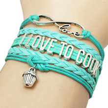 Turquoise infinity I Love To Cook Chocolate Ice-cream Cheesecake Baking Cake pendant charms wrap bange Bracelet drop Shipping
