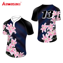 Kawasaki Brand Custom Mens Sublimation Print Rugby Jersey Top Breathable Quick Dry Sports Short Shirts For Rugby Match Games(China)