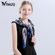 High quality 90X 90cm Square Silk Scarf Women bandana Peony Chain Design Scarves cape Shawl Wraps Spring silky Satins cachecol(China)