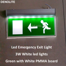 10PCS/LOT AC110/220V 1.2V 3Hours Duration Time 3W Rechargeable LED Emergency Light PMMA Hanging Led Security Exit Sign Light(China)