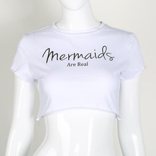 2017 New Ladies Fashion Short Sleeve Street Style Chic Letters Mermaid Solid White T-shirt Crop  Midriff Top