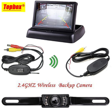 "4.3"" Foldable Car TFT LCD Monitor Wireless Backup Camera License Plate Reverse Rear View Parking System Set"
