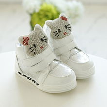 2016 Autumn Winter Girls Hello Kitty Sneakers Little Kids Leather Shoes Children Soft Bottom Rhinestone Shoes girl boots 21-30
