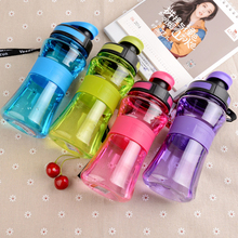 550ML Leak-Proof Seal Nozzle Sport Bicycle Plastic Water Bottles With Safe Material With Cover Lip Filter BPA Free Space Shaker(China)