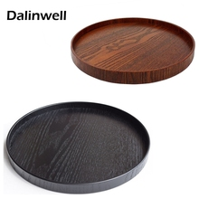 1PCS Dia 21CM Circular Solid Wood Fruit Dinner Plate Hotel Round Service Tray Restaurant Wooden Buffet Dishes Black Brown Color