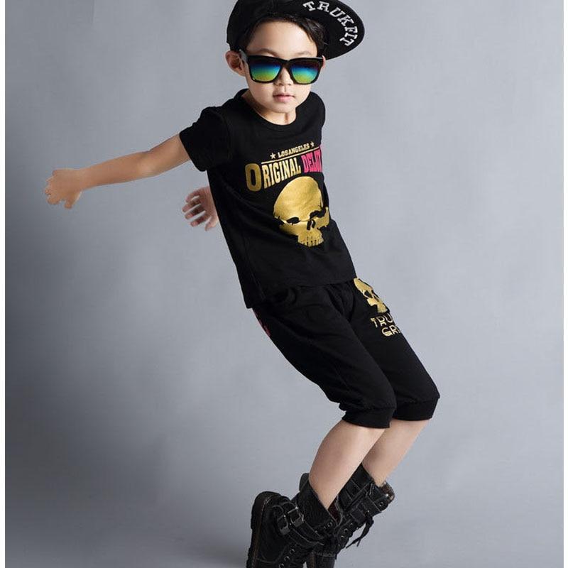 hip hop clothing boys set 2017 skull printed black dance boys t shirts print boys t shirt letter print harem pants clothes suits<br><br>Aliexpress