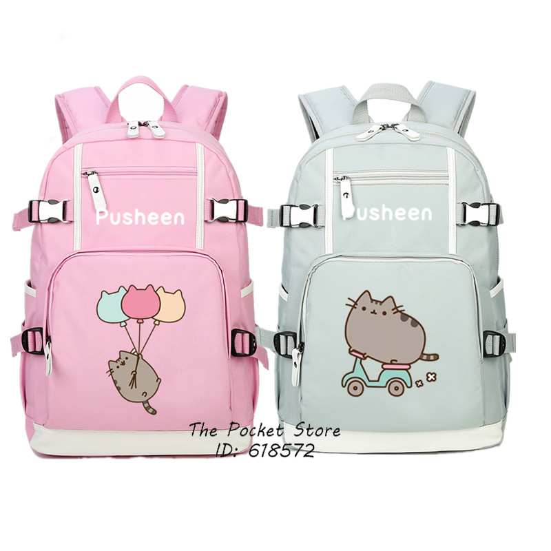 High Quality 2017 New Cute Pusheen Backpack Kawaii Cat Printing Pusheen School Bags for Girls Pink Travel Bags Laptop Backpack<br>