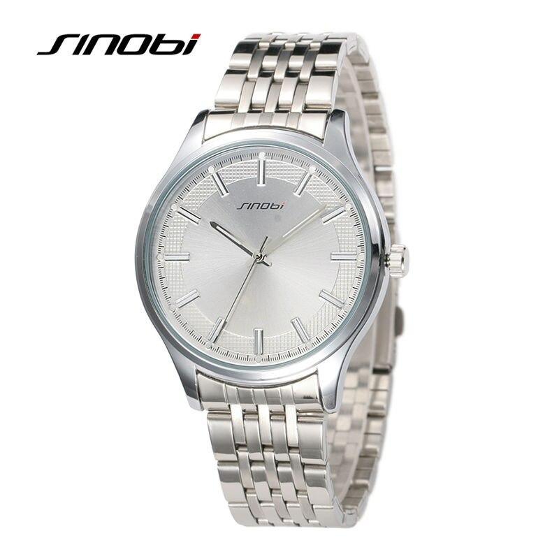 SINOBI Mens Watches Business Wristwatches Silver Watchband Waterproof Gents Brand Males Round Alloy Quartz Watch Montre Reloj<br><br>Aliexpress