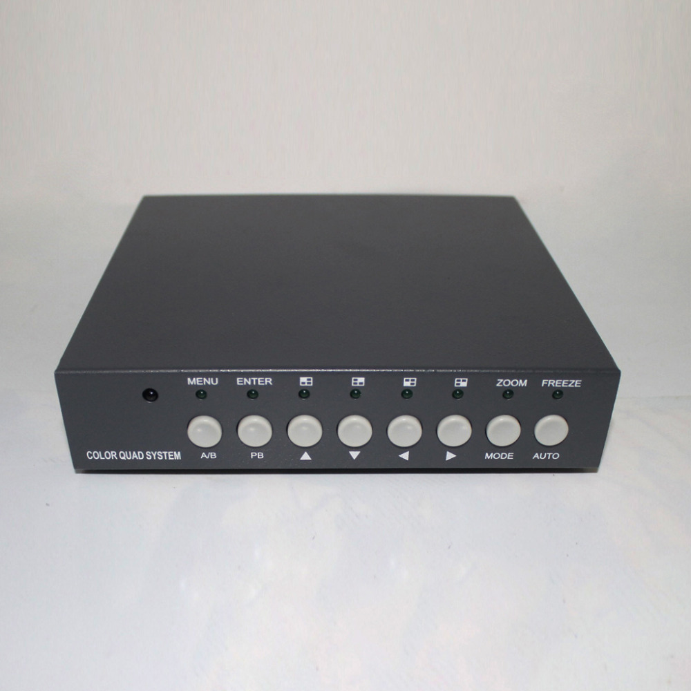 4CH Video Splitter High Performance 4ch CCTV Processor Video Quad With VGA Output and Remote Control(China (Mainland))