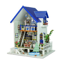 Harbor of Venice Gothic DIY Doll house 3D Miniature Light+5pcs Dust Cover+Wood Handmade kits Building model Toy Home&Store deco